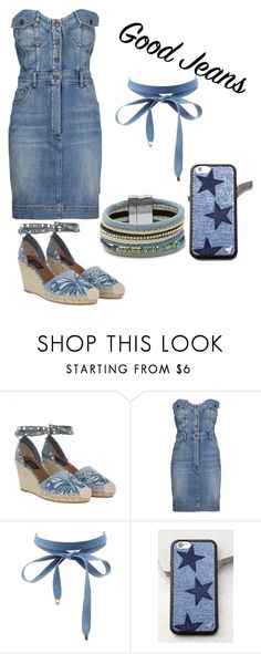 """Slaying the game with denim!💦🔥"" by liljohnsons ❤ liked on Polyvore featuring Valentino, Moschino, Charlotte Russe, Wildflower and Cara"
