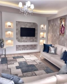 Image may contain: living room, table and indoor Classy Living Room, Living Room Decor On A Budget, Interior Design Living Room, Living Room Designs, Leaving Room Ideas, Simple False Ceiling Design, Tv Wanddekor, Modern Tv Wall Units, Living Room Wall Units