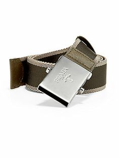 Prada Bicolor Webbed Logo Belt