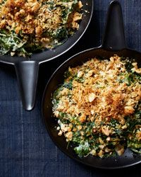 Almond-Milk Creamed Spinach Recipe This creamed spinach is so silky and light that you won't miss the cream. The crunchy bread crumb topping is a fantastic addition.