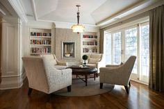 Suburban Bliss - traditional - family room - toronto - Parkyn Design - layout and flooring color