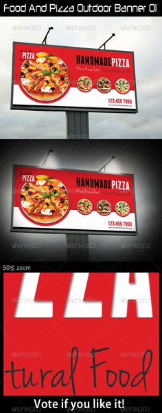 Food And Pizza Outdoor Banner 01  #GraphicRiver