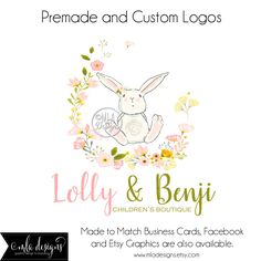 A personal favorite from my Etsy shop https://www.etsy.com/listing/281322290/premade-logo-watercolor-bunny-logo