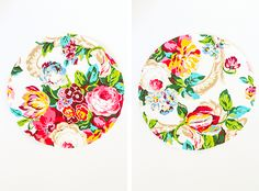 Make your own DIY No-Sew Floral Fabric Chargers in just two easy steps! The pop of pattern is just what your springtime placesetting has been missing. Wood Chargers, Plate Chargers, Charger Plates, Pinwheels, Floral Fabric, Diy Wedding, Wedding Ideas, Make Your Own, Quilts