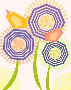 Love the geometric shapes in this little garden scene! #nursery #art #toddler #summer #flowers