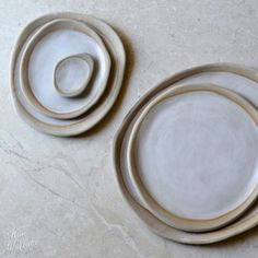 Ebb Tide Collection ~ pebble plates in white on natural