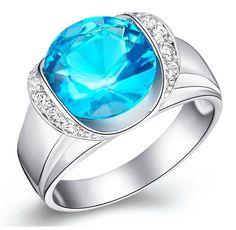 Sterling Silver Stunning Mega Round Cut Blue Topaz CZ Cocktail Ring Sz 5-9