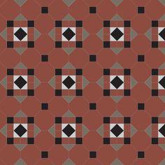 hallington geometric floor tiles for pathways, patios, conservatories, kitchens and hallways Victorian Pattern, Grey Grout, Geometric Tiles, Adhesive Tiles, Conservatories, Hallways, Interior And Exterior, Floors, Tile Floor