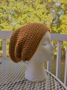 Ready To Ship Slouchy Hat Honey Brown Slouchy Beanie  Crochet
