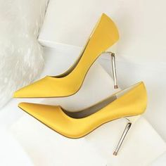 Metal Heel Shoes Women Silk Thin High Pumps Satin Heel Sexy Elegant Hi – Sexy High Heels, High Heels Gold, Frauen In High Heels, Super High Heels, Leather High Heels, High Heels Stilettos, Womens High Heels, Women's Pumps, Yellow High Heels