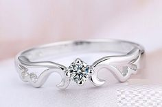 Angel Wing Silver Rings for Women S925 Sterling Silver Ring with Swarovski Diamonds Engagement Rings Valentine's Day Gift J044S on Etsy, $8.00