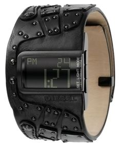 Diesel DZ7066 Watch: Shopping Nexus Long live leather. This DIESEL watch features a black leather cuff bracelet with studs and black ion-plated rectangular stainless steel case.