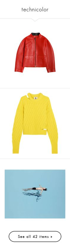 """technicolor"" by vfcwyn ❤ liked on Polyvore featuring outerwear, jackets, loewe, coats, tops, sweaters, yellow, shirts, distressed sweater and chunky cable knit sweater"