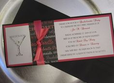 Bachelorette Invite Idea The ribbon and rhinestones are nice clean touch
