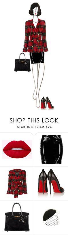 """High Fashion"" by ladygagafashion ❤ liked on Polyvore featuring Boohoo, Balmain, Christian Louboutin, Hermès and Philip Treacy"