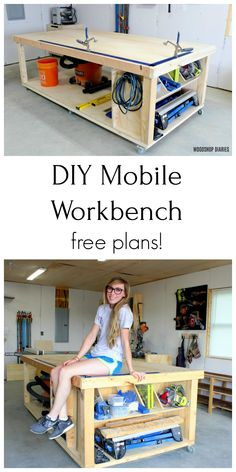 Need the ultimate workbench for your shop? Get the free plans and video tutorial to build your own DIY mobile workbench with storage! Workbench With Storage, Building A Workbench, Workbench Plans, Woodworking Workbench, Woodworking Workshop, Easy Woodworking Projects, Workbench Height, Workbench Designs, Workbench Top