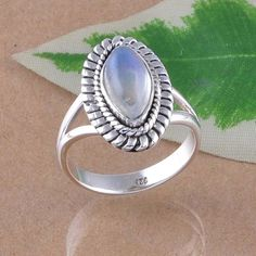 EXCLUSIVE 925 SOLID STERLING SILVER MOONSTONE RING 5.13g DJR2442  S-7 #Handmade #Ring