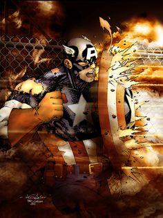 Captain America - Drewstroyer by SpiderGuile on deviantART Marvel Comics, Hq Marvel, Marvel Comic Universe, Marvel Heroes, Comic Book Characters, Marvel Characters, Comic Character, Comic Books Art, Comic Art