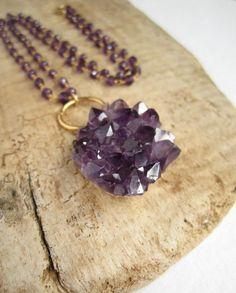 Purple Amethyst Druzy Necklace Drusy Quartz Cluster by julianneblumlo, $90.00