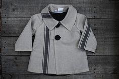 """oKIDDo"" Kid's Unisex Summer Jacket in Neutral Oatmeal with Navy stripes in cotton/linen at ""oKIDDo"" on Etsy!- Sizes 12m up to 6 #kidsfashion #kidsjacket"