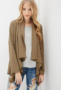 Drape-Front Shawl Collar Jacket | Forever 21 Canada