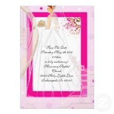 Cute Elgant Pink Spring Wedding At Home Invitation