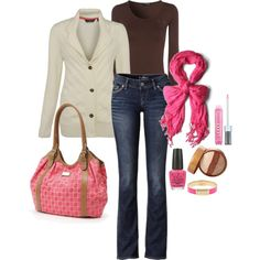 Pink, brown, cream. Fall outfit.