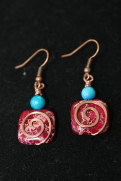 wire wrapped jewelry handmade magenta earrings by shahrinalam, $14.00
