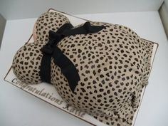 Leopard print baby bump , baby shower cake  Cake by Mel1204