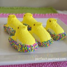 Peeps dipped in sprinkles!!  Cute!