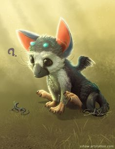 a smol Trico , Sarah Shaw Amazing Drawings, Beautiful Drawings, Fantasy Creatures, Mythical Creatures, Totoro, Baby Animals, Cute Animals, Shadow Of The Colossus, Gif Disney
