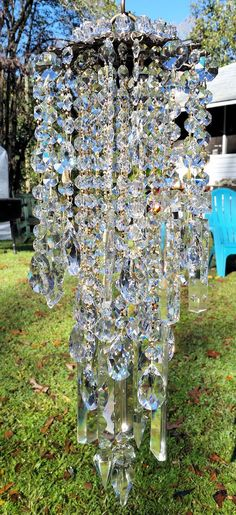Antique Crystal Wind Chime, Crystal Medley Wind Chime, Window Decor, Outdoor Decor   shopswell