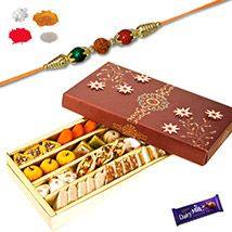 Mix Dry fruits Sweets with Rudraksh Rakhi