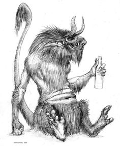 Chort- Slavic myth: a creature of total evil that has horns, a pig face, skinny tail, and hooves.