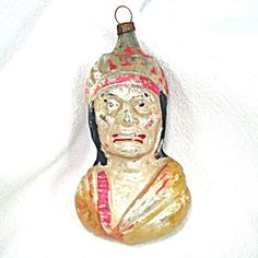 Antique Germany Indian Bust Glass Christmas Ornament