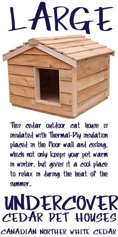 Large cedar insulated outside cat house Buy a Small Animal Heating Pad and transform this cat outside house into a heated outdoor cat house, keeping your kitty cozy and warm during the coldest of months. It's perfect cat furniture for the neighborhood feral that is adamant about staying outdoors or for the indoor kitty who insists on hanging out near you while you're in the garden. It takes about 15 minutes to assemble - PRICE: $185.50 - #outsidecathouse #outdoorcathouse #catoutsidehouse Outside Cat Shelter, Outside Cat House, Outdoor Cat Shelter, Cats Outside, Outdoor Cats, Crazy Cat Lady, Crazy Cats, Heated Outdoor Cat House, Small Dog House