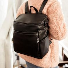 Black 7 Pockets The Stratus Diaper Bag Water Resistant Coated Canvas Adjustable Crossbody Strap