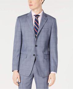 0c21069f14d0 Calvin Klein Men X-Fit Slim-Fit Natural Stretch Blue Plaid Suit Jacket Blue