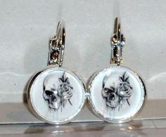 Ohrringe Totenkopf Damen Hänger Ohrschmuck Modeschmuck ohne Stein Glas Cabochon Neuware