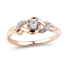 Diamond Promise Ring in 10k Rose Gold and Rhodium Plated 10k White Gold 1/10 cttw (HI, I2-I3) ** Visit the image link more details. (This is an affiliate link and I receive a commission for the sales)