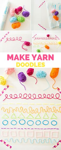 Make Yarn Doodles - Fun and Easy Art Project for Kids. Learn lines, patterns, shapes, colors and practice fine motor skills.