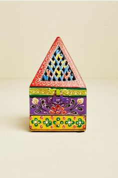 Painted Pyramid Wooden Incense Burner - Earthbound Trading Co.