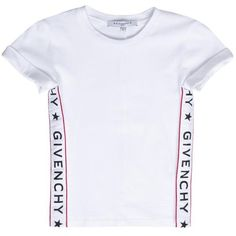 Givenchy Logo cotton t-shirt ($142) ❤ liked on Polyvore featuring tops, t-shirts, white, cotton logo t shirts, white cotton t shirts, summer t shirts, givenchy t shirt and cotton tees