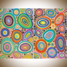 Set of Two Huge Painting abstract wall art wall by QiQiGallery