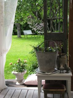Ana Rosa - Garden view from the cosy cottage Patio Pergola, Backyard Seating, Outdoor Rooms, Outdoor Gardens, Outdoor Living, Country Farm, Country Life, Country Living, French Country