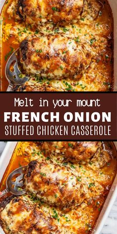 French Onion Stuffed Chicken Casserole makes for a delicious dinner! Juicy, succulent chicken breasts stuffed with caramelized onions and glorious melted cheese. A perfect weeknight or weekend dinner. Low Carb and Keto approved! Yummy Chicken Recipes, Delicious Dinner Recipes, Stuffed Chicken Recipes, Stuffed Chicken Breasts, Best Recipes For Dinner, Yummy Food, Chicken Meals, Chicken Thighs, Gumbo