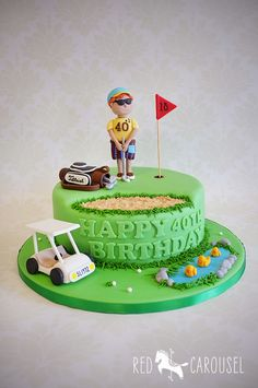 Golf cake - For all your cake decorating supplies, please visit… Birthday Cakes For Men, 40th Birthday Cakes, Birthday Recipes, Dad Cake, 50th Cake, Golf Themed Cakes, Golf Cakes, Fondant Cakes, Cupcake Cakes