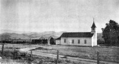Yorba Chapel with ruins of Old Chapel, 1916