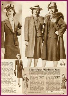 1940s outerwear fashion, coats. Sears catalog 1942-43.