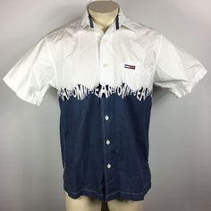 Tommy Jeans Vintage 90s Short Sleeve Logo Button Up Shirt Men's Small A52